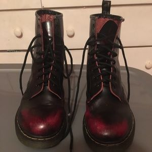 Dr. Marten cherry red vegan combat boots